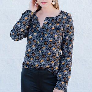 Fun print, pop of orange, cabi blouse